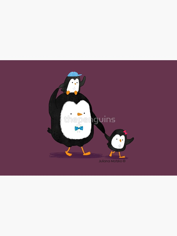 Dad Penguin with his daughter and son penguins by thepenguins
