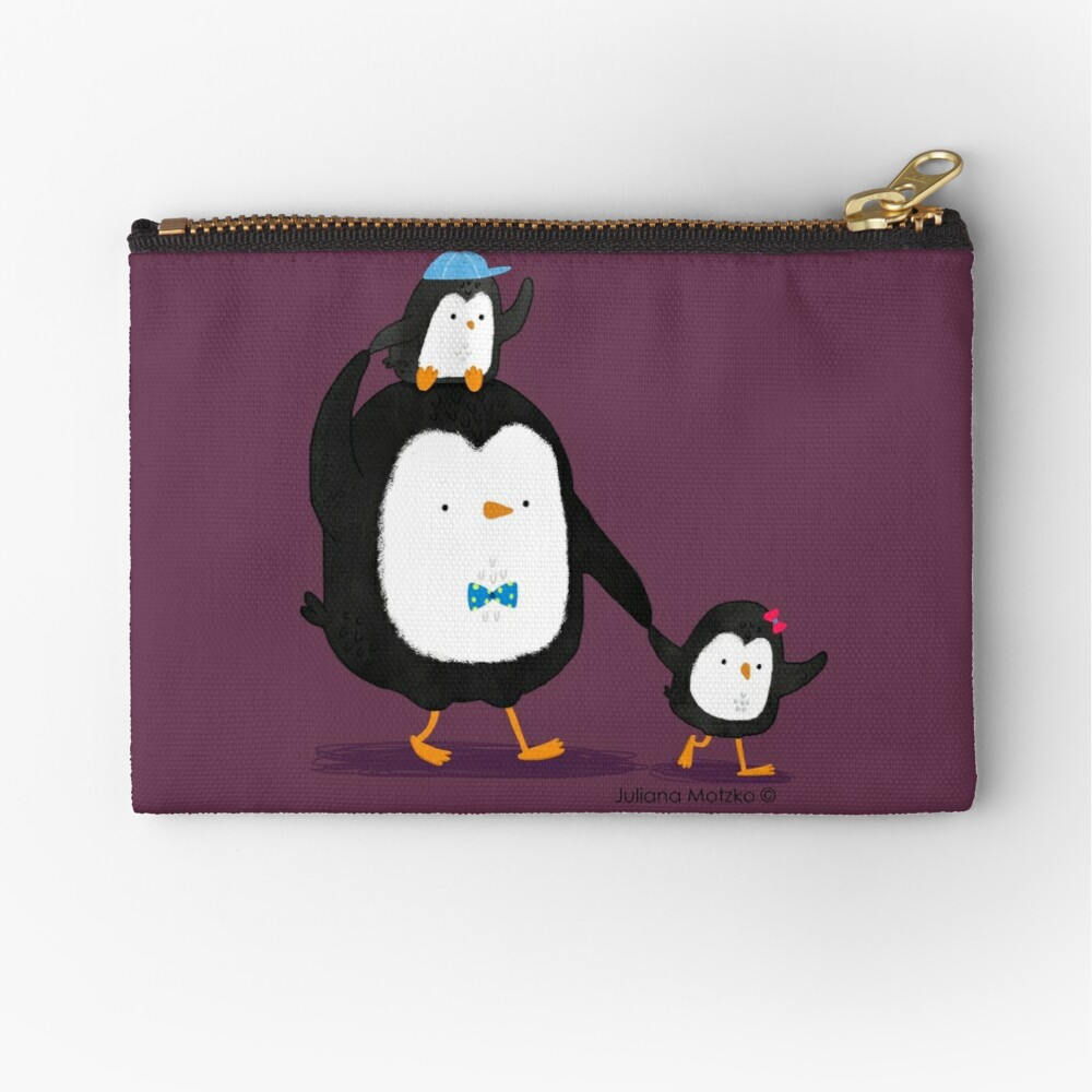 Dad Penguin with his daughter and son penguins Zipper Pouch