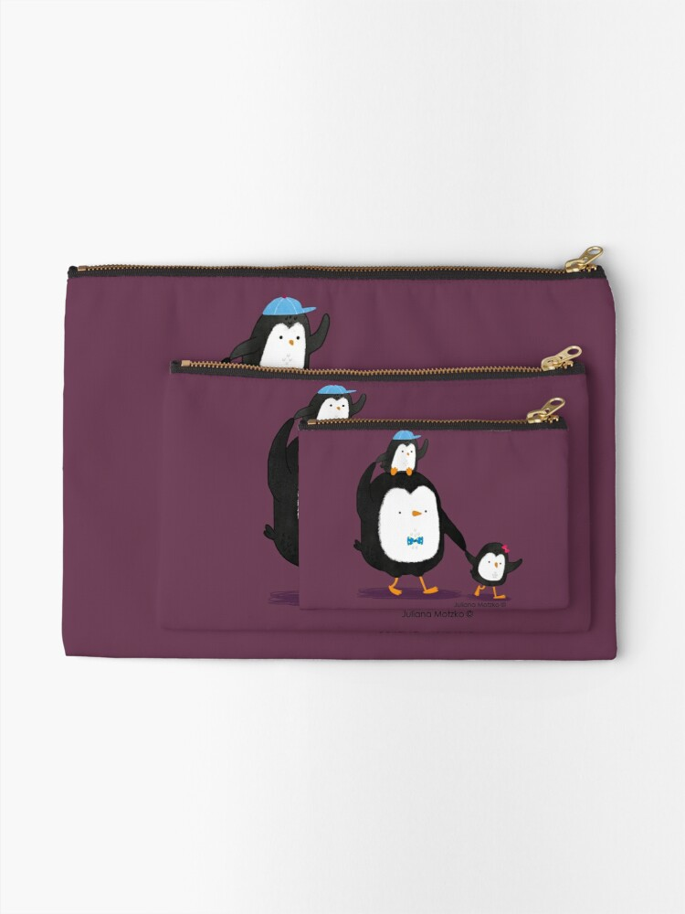 Alternate view of Dad Penguin with his daughter and son penguins Zipper Pouch