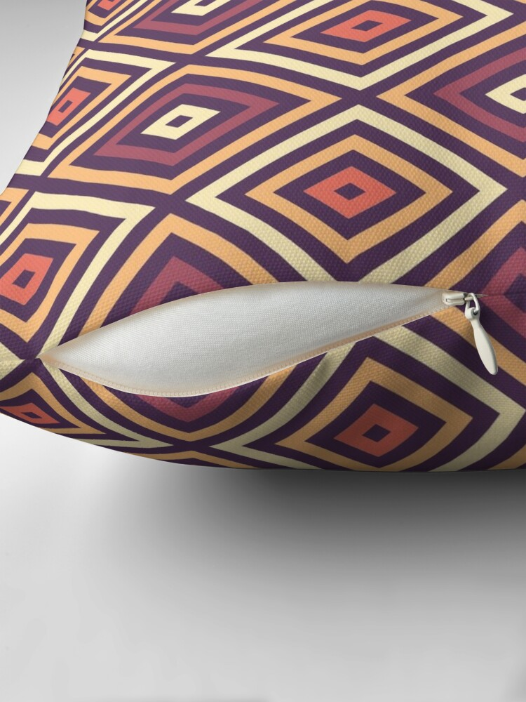 Alternate view of Diamonds - Purple, Yellow, Orange Throw Pillow