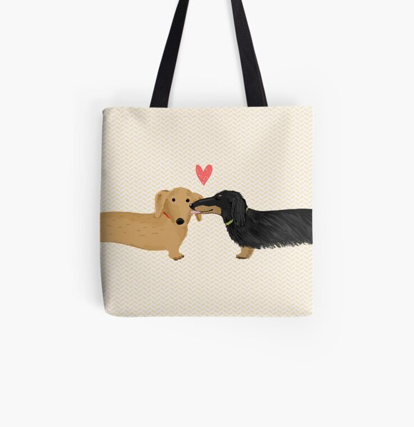 Dachshunds Love All Over Print Tote Bag