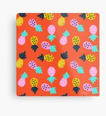 Ananas-Party - rote u. Rosafarbene Palette Metallbild