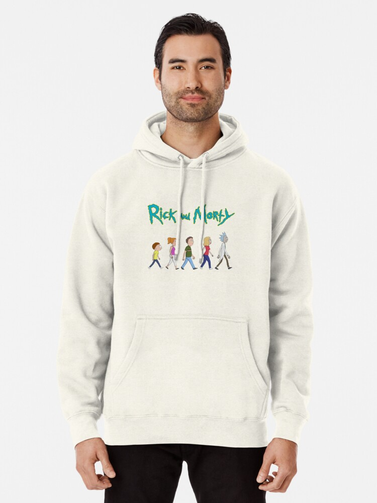 Alternate view of Rick and Morty -Family Together Walking Pullover Hoodie