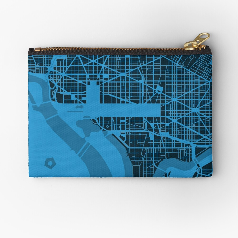 Map of Washington, DC Zipper Pouch