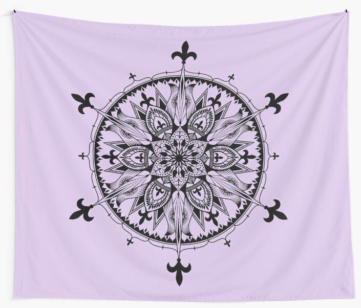 Fleur De Lys Mandala Wall Tapestries By Swanstardesigns Redbubble