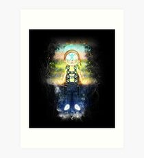 Morty Hovering with Death Crystal Grunge Painting Art Print