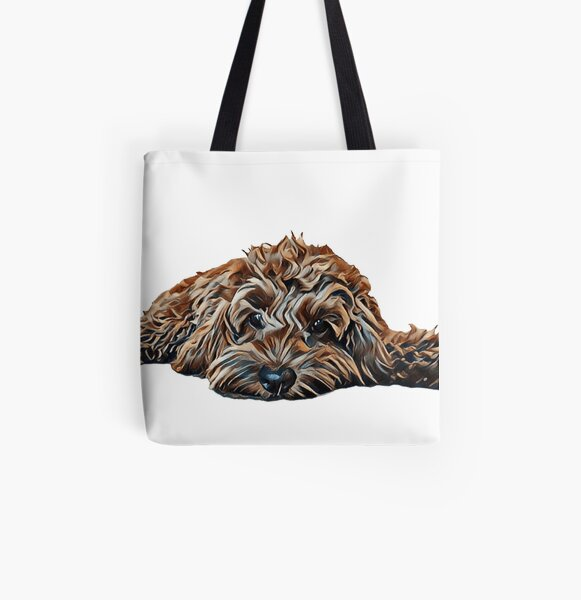 Chocolate/Brown Cockapoo - White Background All Over Print Tote Bag