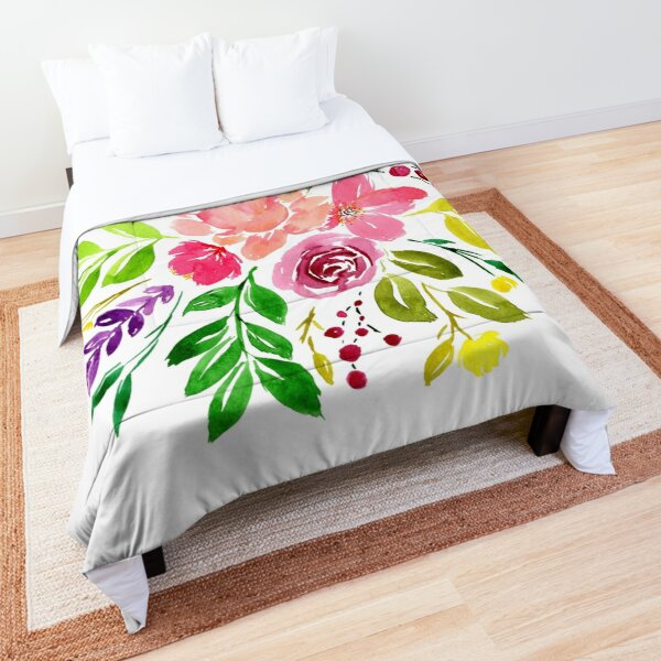 Watercolour fantasy bouquet Comforter