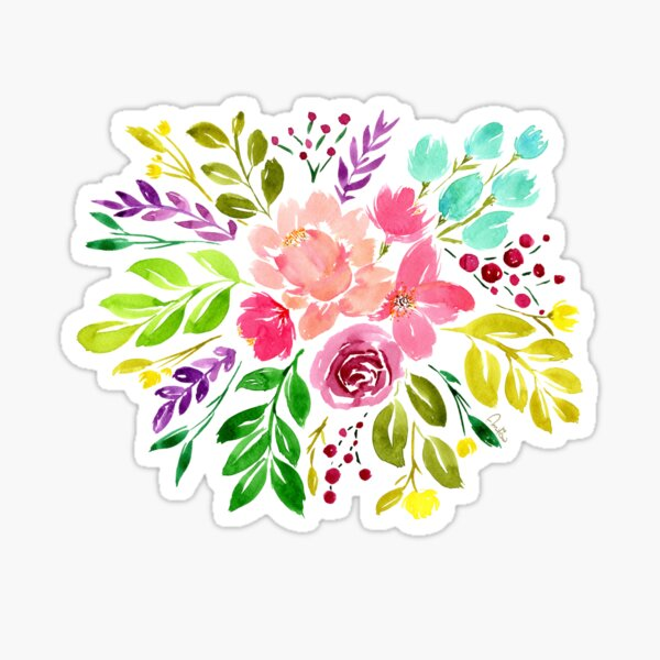 Watercolour fantasy bouquet Sticker
