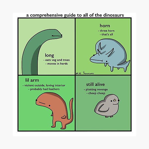A Comprehensive Guide To All Of The Dinosaurs - Tiny Snek Comics Photographic Print