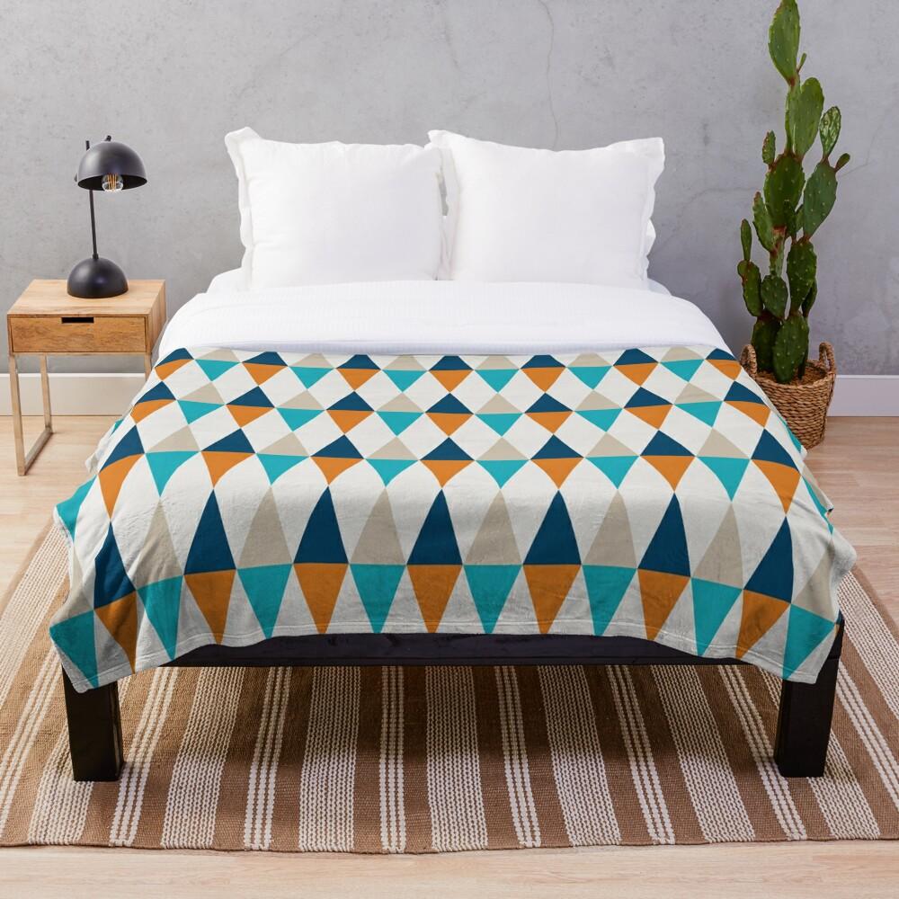 Geometric Pattern: Harlequin: Blue/Orange Throw Blanket