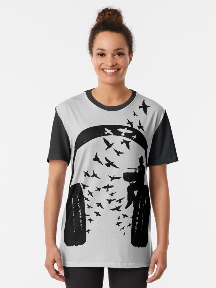 Alternate view of Headphone - Snare drum Graphic T-Shirt