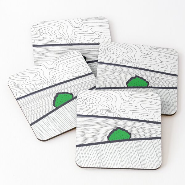 Landscape with Green Horse Chestnut Tree Coasters (Set of 4)