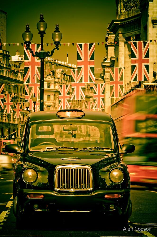 London. Regent Street. Royal Wedding Flags. by Alan Copson