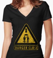 Caution Danger Close Sign Women's Fitted V-Neck T-Shirt