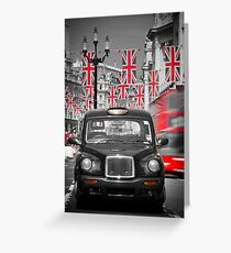 UK. London. Regent Street. Union Jack decorations for Royal Wedding.(Alan Copson ©) Greeting Card