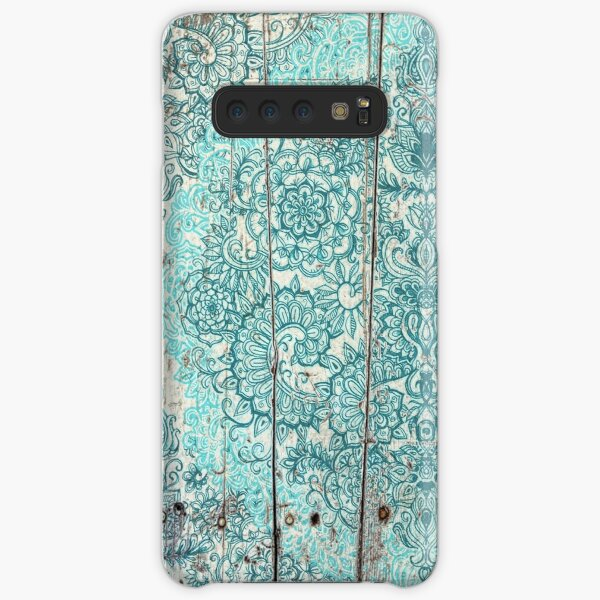 Teal & Aqua Botanical Doodle on Weathered Wood Samsung Galaxy Snap Case