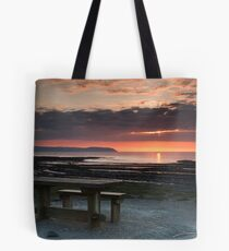 Picnic Table Sunset Tote Bag