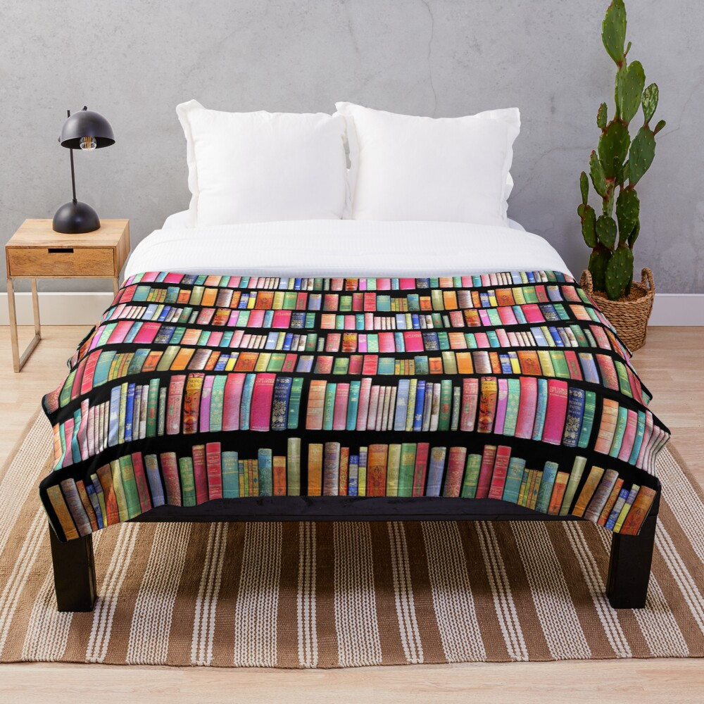 Bookworms Delight / Antique Book Library for Bibliophile Throw Blanket