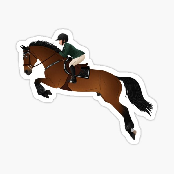 Bay Warmblood Jumper and Rider - Equine Rampaige Sticker