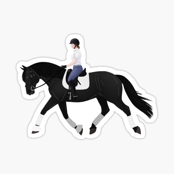 Dressage Friesian and Rider - Equine Rampaige Sticker
