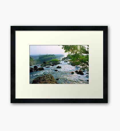 At the Edge of Zambezi, Victoria Falls - Zambia Framed Print