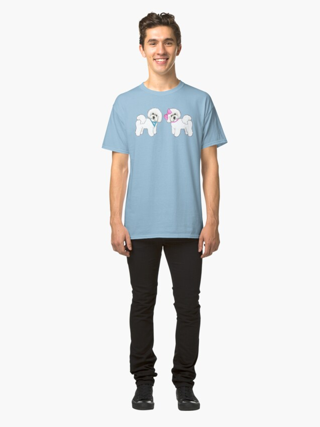 Alternate view of Bichon Frise dogs on periwinkle blue Classic T-Shirt