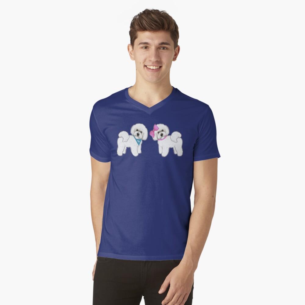 Bichon Frise dogs on periwinkle blue V-Neck T-Shirt