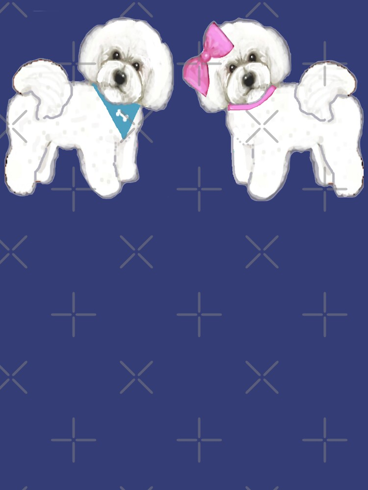 Bichon Frise dogs on periwinkle blue by MagentaRose
