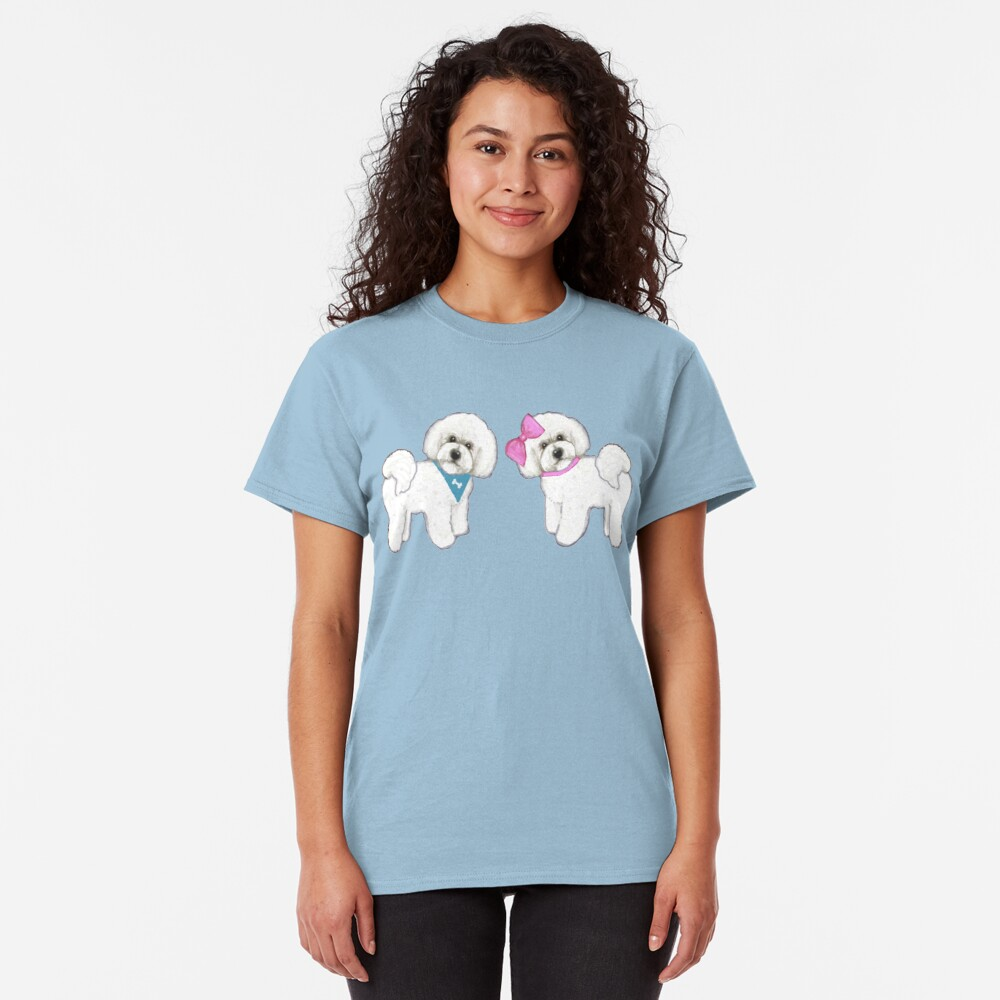 Bichon Frise dogs on periwinkle blue Classic T-Shirt