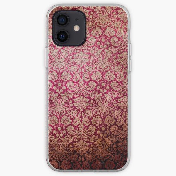 Vintage Red Cream Grunge Floral Damask Pattern iPhone Soft Case