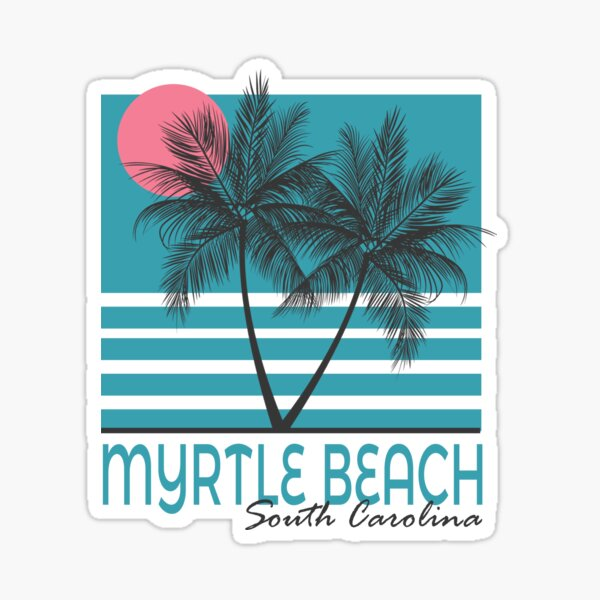 Myrtle Beach South Carolina SC Vintage Palm Tree Sticker