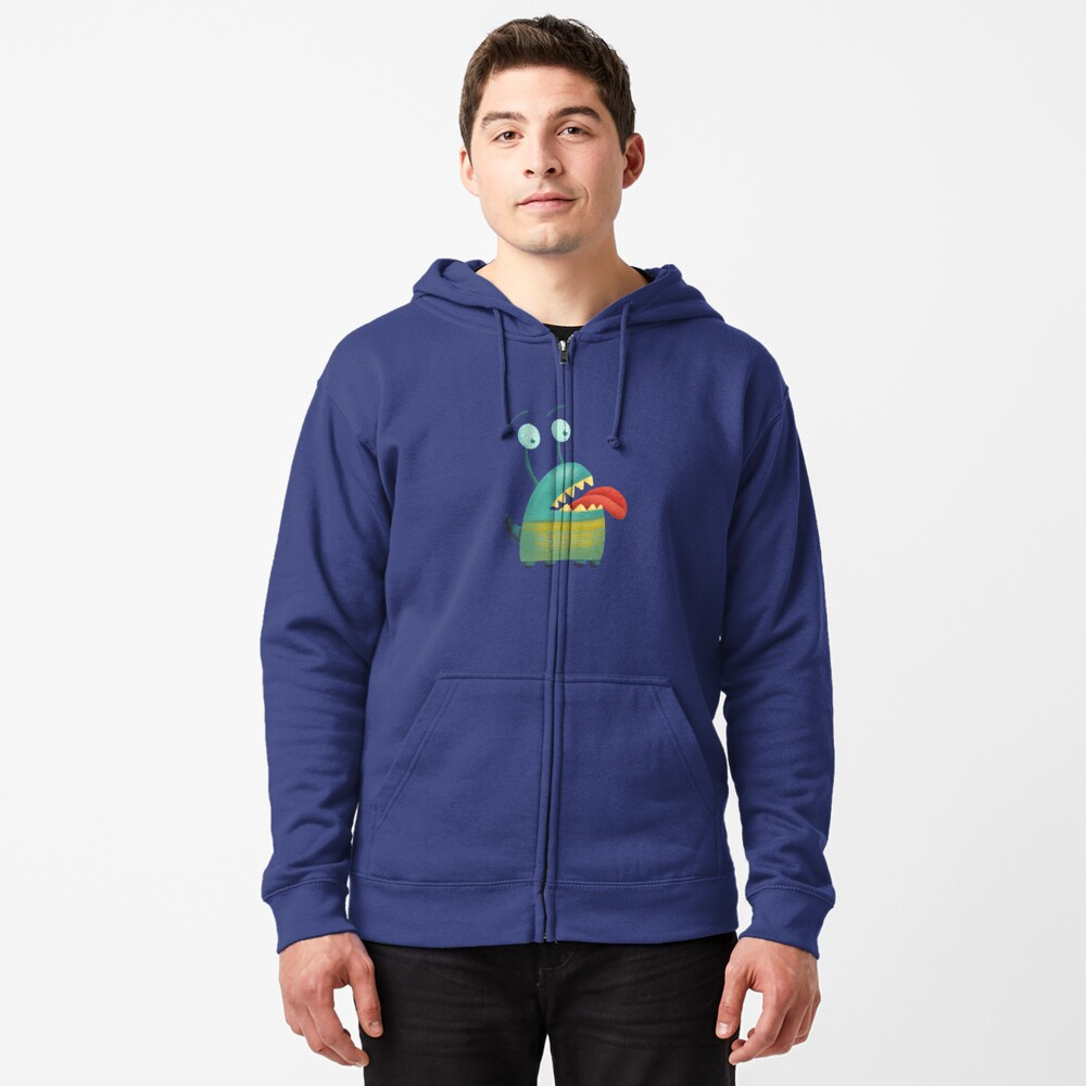 Lovesick monster sticking tongue out Zipped Hoodie