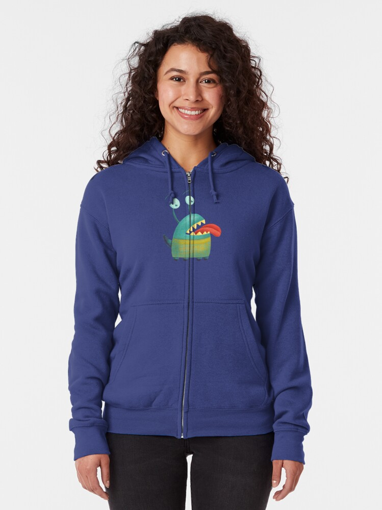 Alternate view of Lovesick monster sticking tongue out Zipped Hoodie