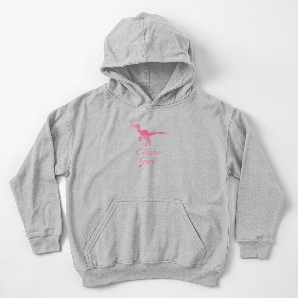 Clever Girl Pink Raptor Kids Pullover Hoodie