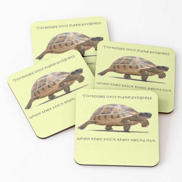 Tortoises Only Make Progress When They Stick Their Necks Out Coasters (Set of 4)
