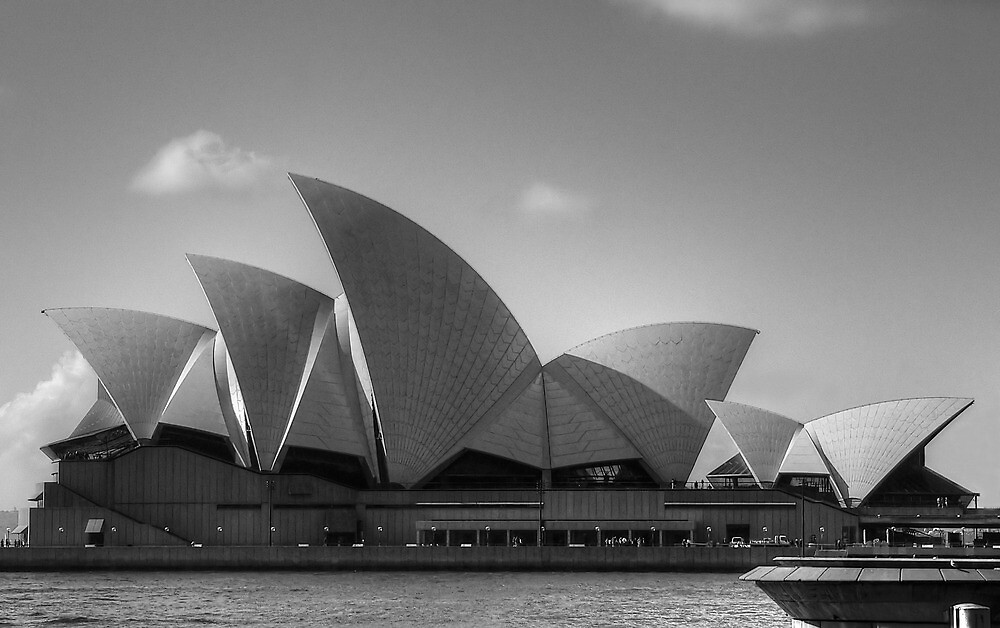 Sydney Opera House in Black & White by Sharon Brown