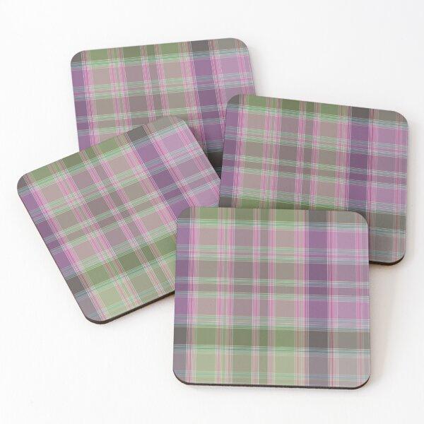 Green and lilac tartan plaid. Coasters (Set of 4)