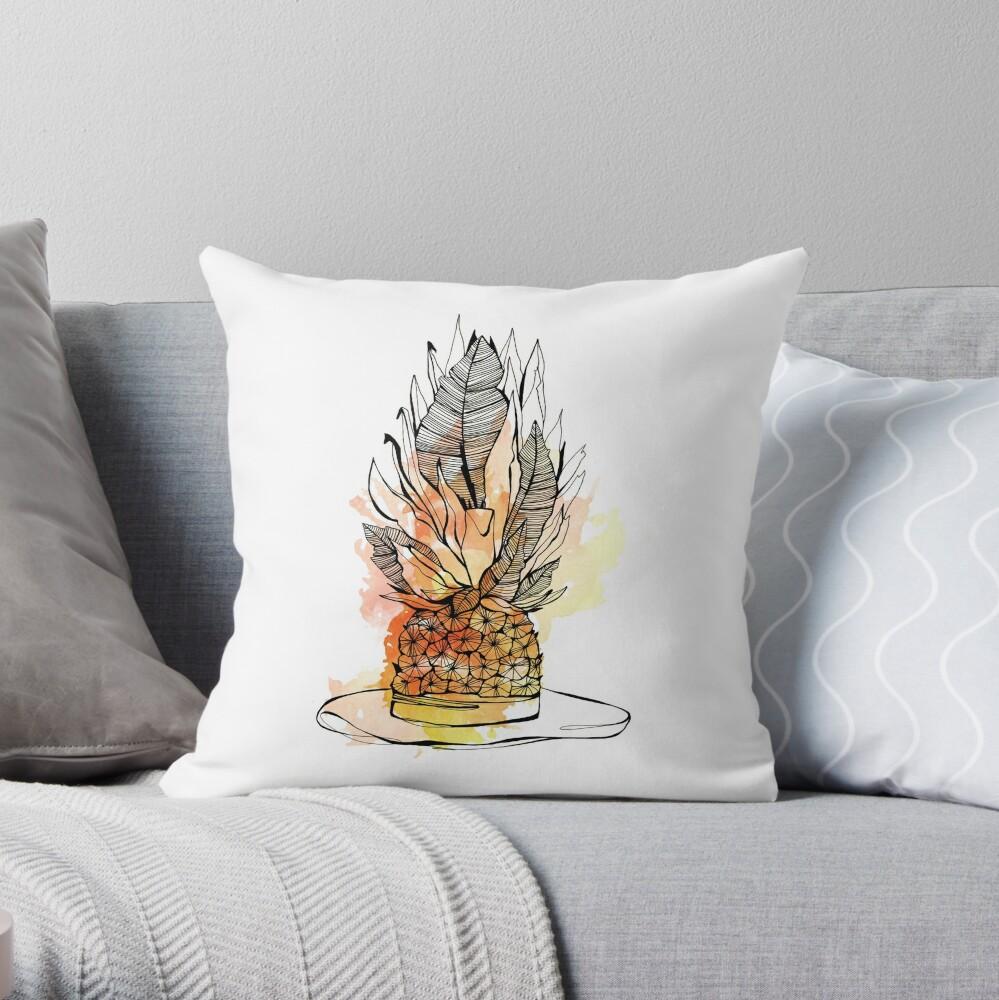 Illustration chapeau ananas Coussin