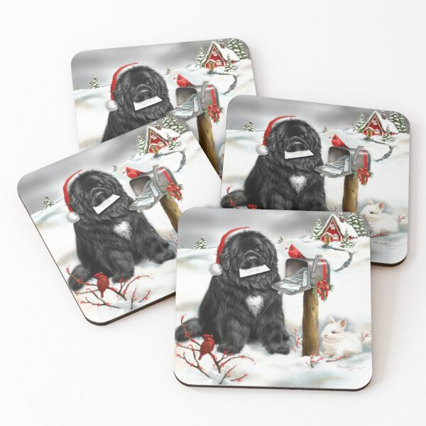 Newfie and Christmas cards Coasters (Set of 4)