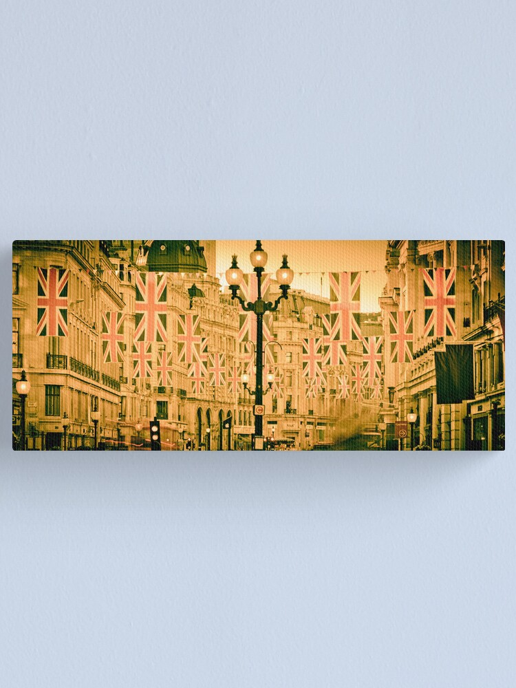 Alternate view of UK. London. Regent Street. Union Jack decorations for Royal Wedding. Canvas Print