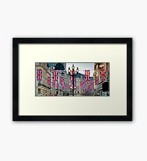 UK. London. Regent Street. Union Jack decorations for Royal Wedding. Framed Print