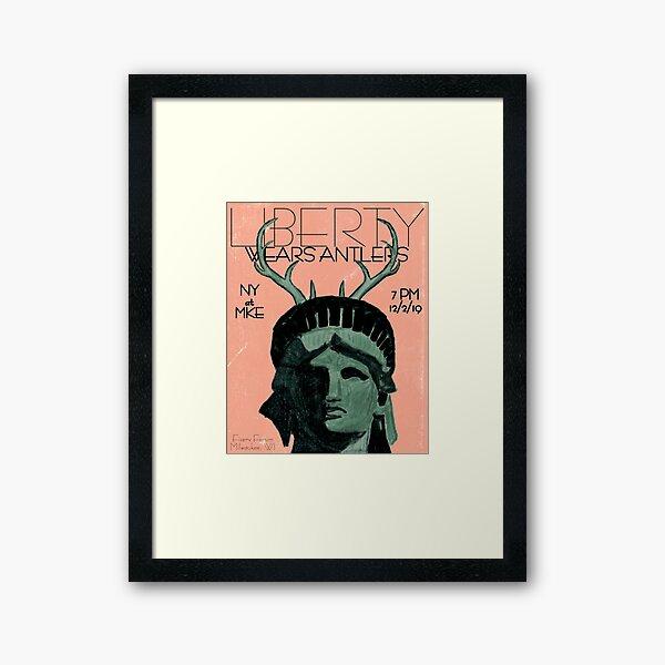 Liberty Wears Antlers Framed Art Print