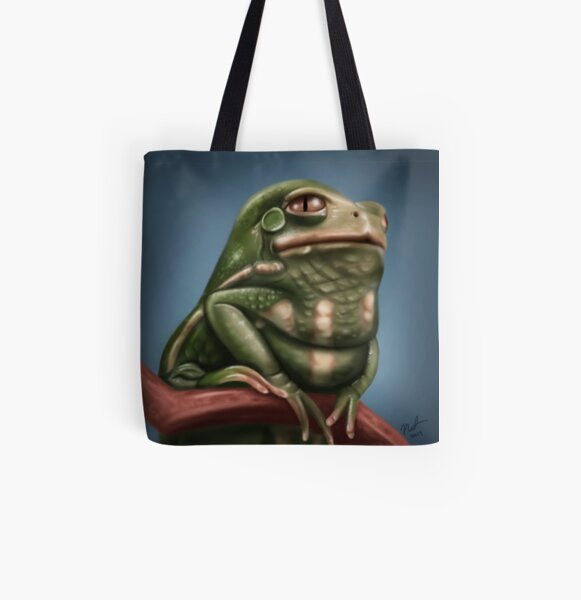 Grumpy Frog All Over Print Tote Bag