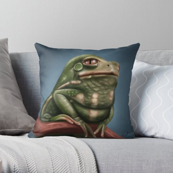 Grumpy Frog Throw Pillow