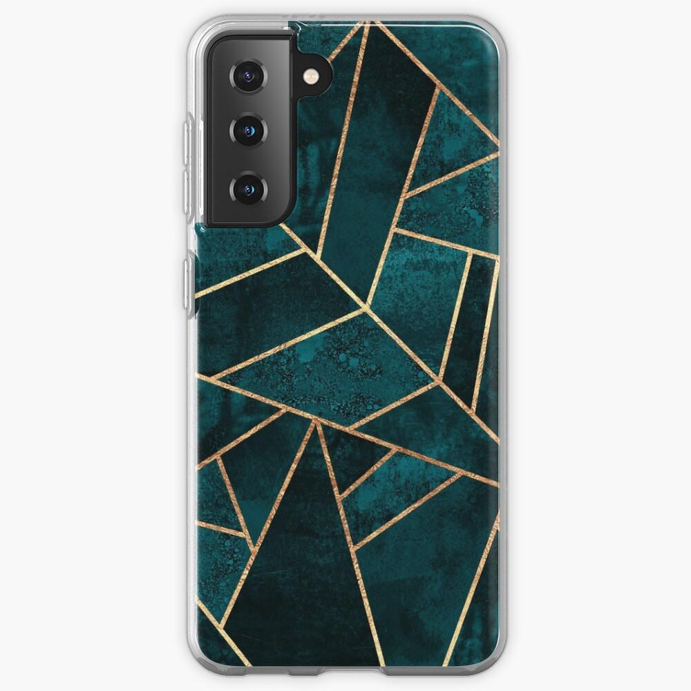Deep Teal Stone Case & Skin for Samsung Galaxy