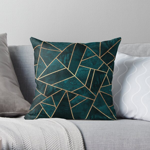 Deep Teal Stone Throw Pillow