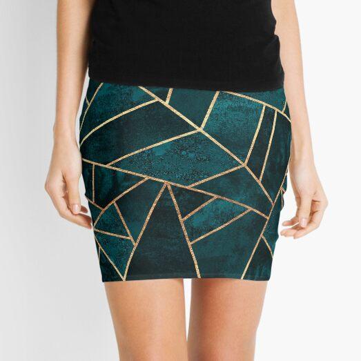 Deep Teal Stone Mini Skirt