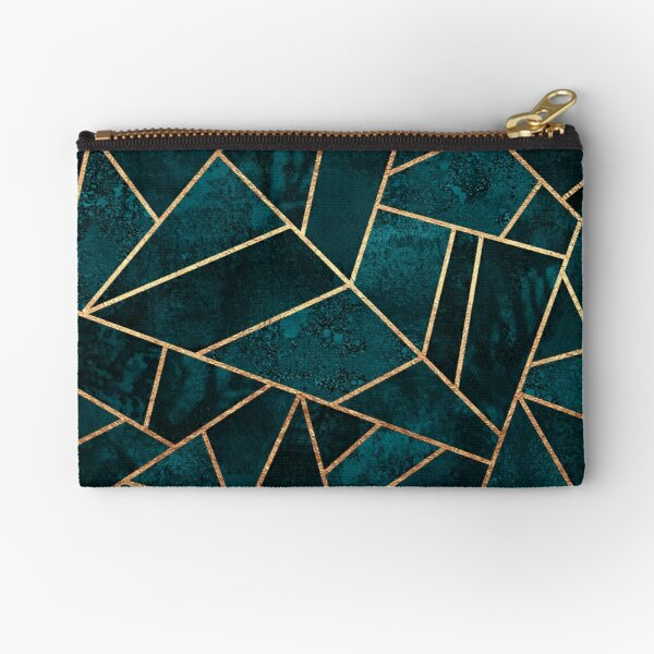Deep Teal Stone Zipper Pouch