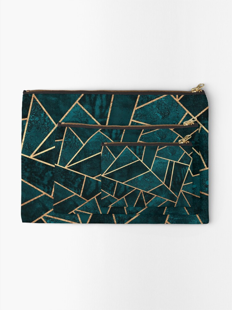 Alternate view of Deep Teal Stone Zipper Pouch